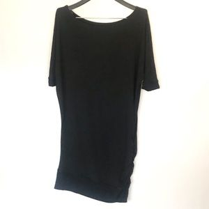 Suki + Solaine black asymmetrical sweatshirt dress